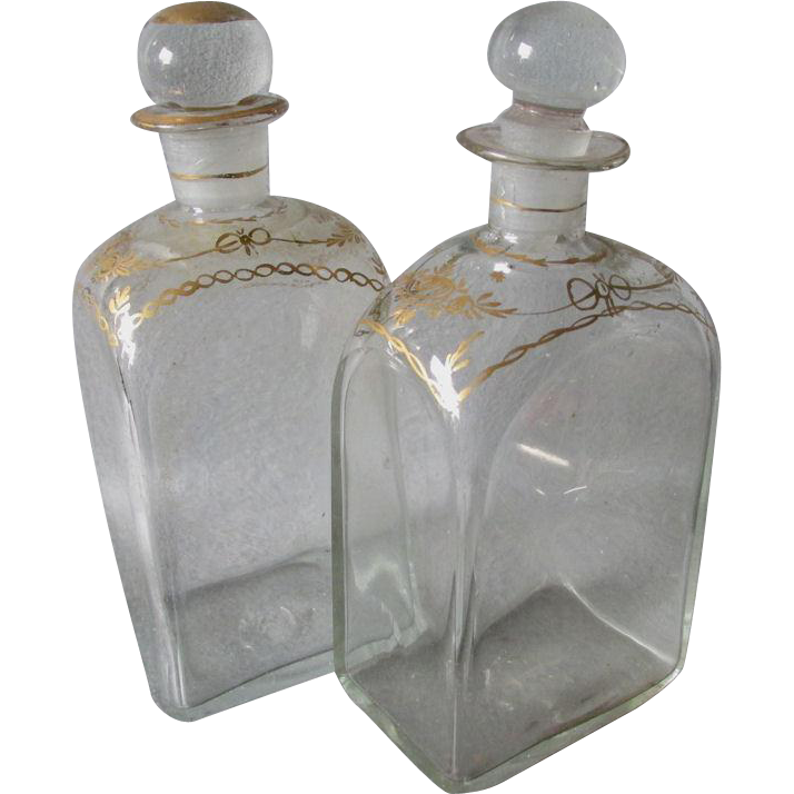Reserved, Layway.....Rare Pair c1830s Blown Glass Bottles, Perfume, Vanity or Decanter Box