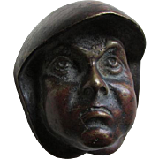Antique Arts & Crafts Bronze Friar or Monk Head