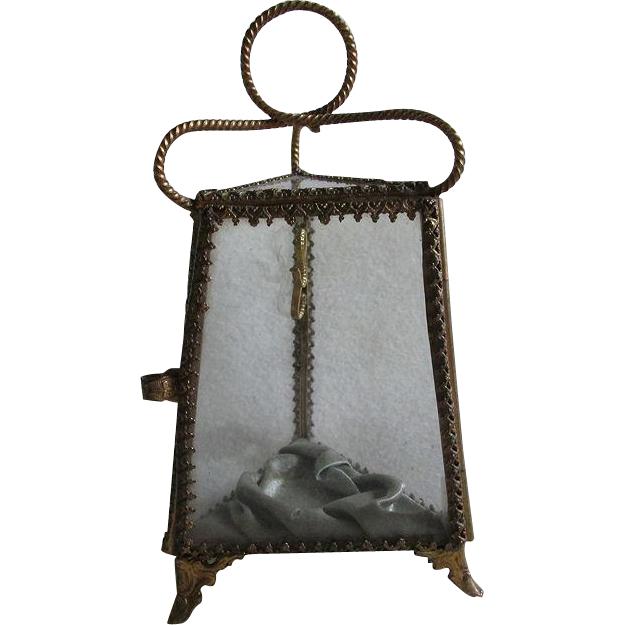 19thC Victorian Glass Pocket Watch Display, Jewelry Box
