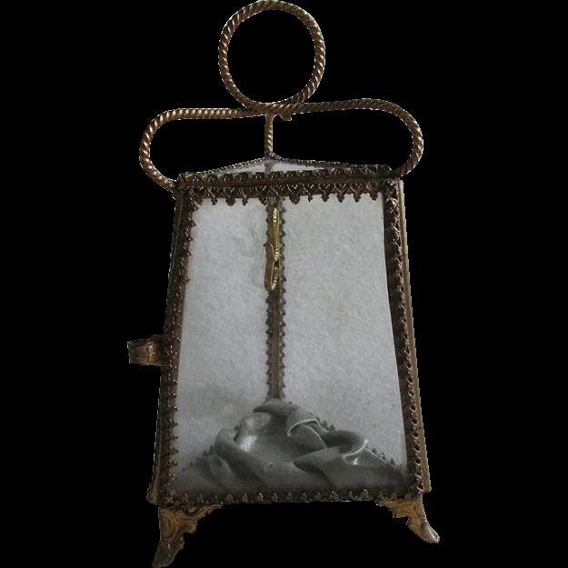 19thC Victorian Glass Pocket Watch Display, Jewelry Box