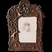 Antique Victorian, Art Nouveau Picture Frame with Fairy & Cherub