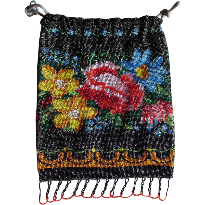 Antique Beaded Handbag with Roses