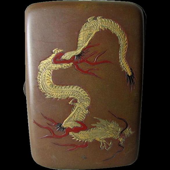 Antique Asian Mixed Metal Cigarette Case with Dragon, Iris, Crane Bird