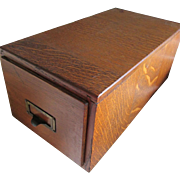 Antique Oak Desk Top File Box
