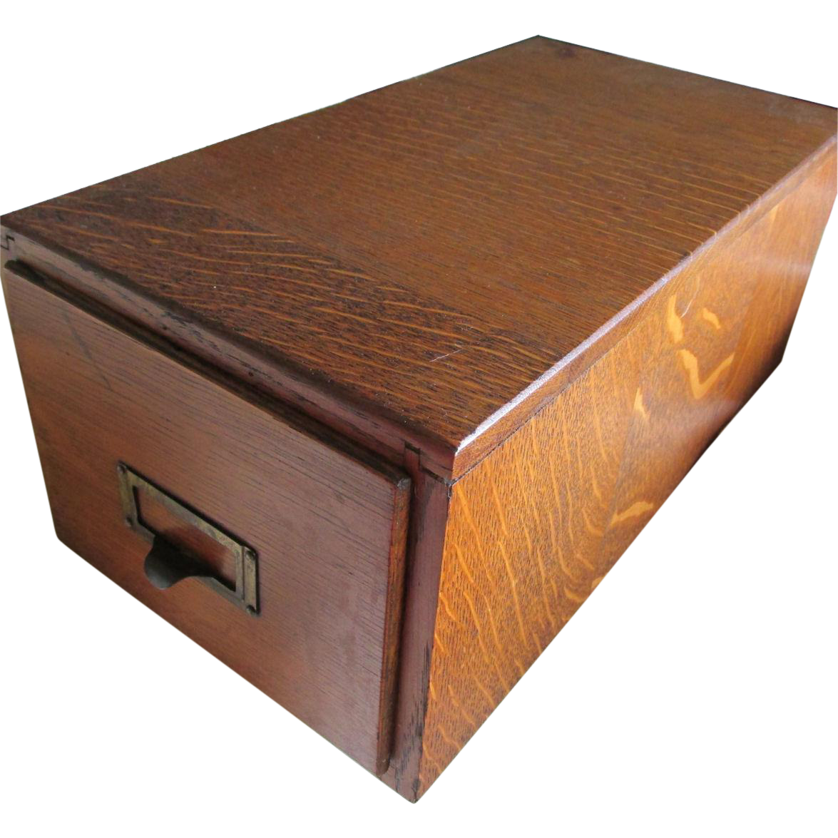Antique Oak Desk Top File Box