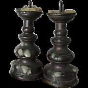 Rare Pair Antique Miniature Brass Pricket Candlesticks