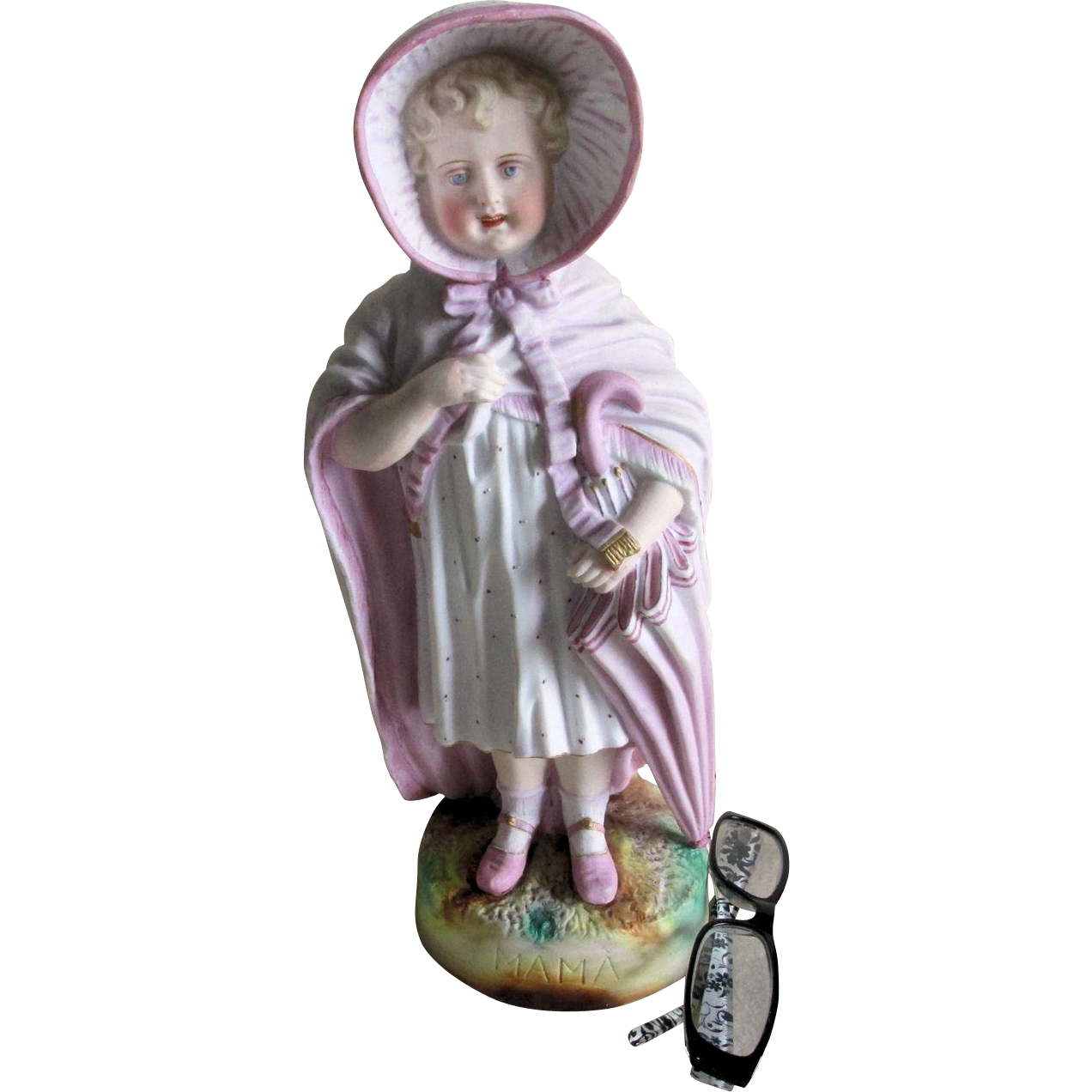 Charming c1890s Victorian Bisque Bust of a Girl In Mothers Clothes