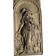 19th Antique Victorian Repousse Plaque of Renaissance Lady