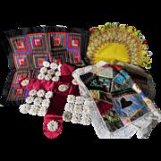 4 Antique Victorian Textiles, Silk, Ribbon Roses, etc.
