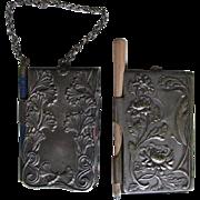 Pair Antique Art Nouveau Chatelaine Memos,  Necessaires