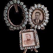 3 Antique Miniature Picture Frames with Glass Fleur de Lis, Flowers