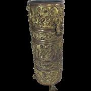 Antique Brass Edwardian Umbrella, Cane Holder with Cherubs