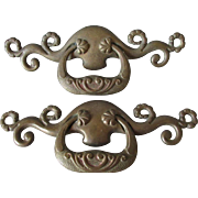Pair Large Art Nouveau Bronze Architectural Handles