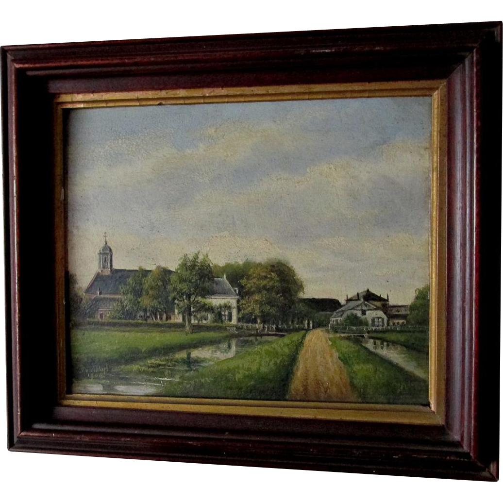 Lovely c1906 Antique Pastoral Oil Painting, Signed