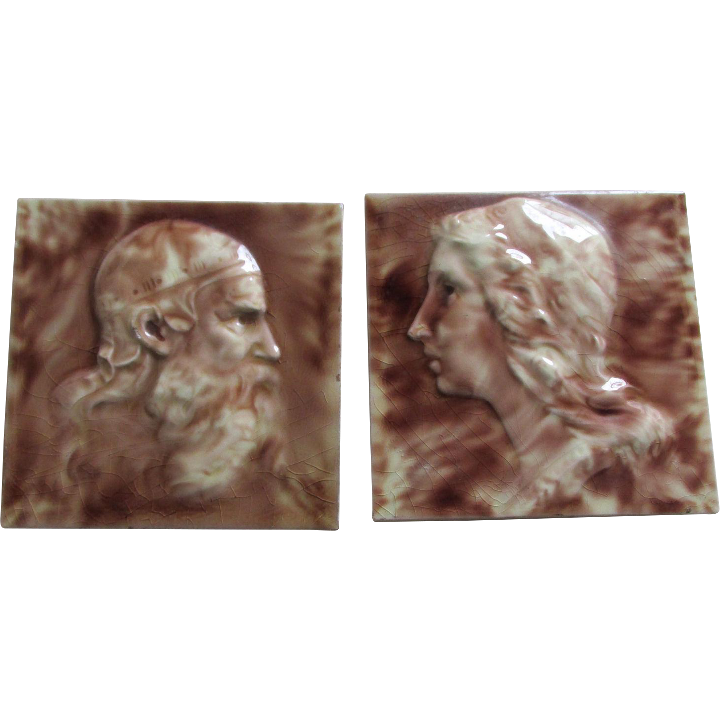 PR 19thC Cambridge Art Pottery Tiles King Lear & Lady by Clement Barnhorn
