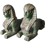 Pair c1920s Art Deco, Egyptian Revival Sphinx Bookends