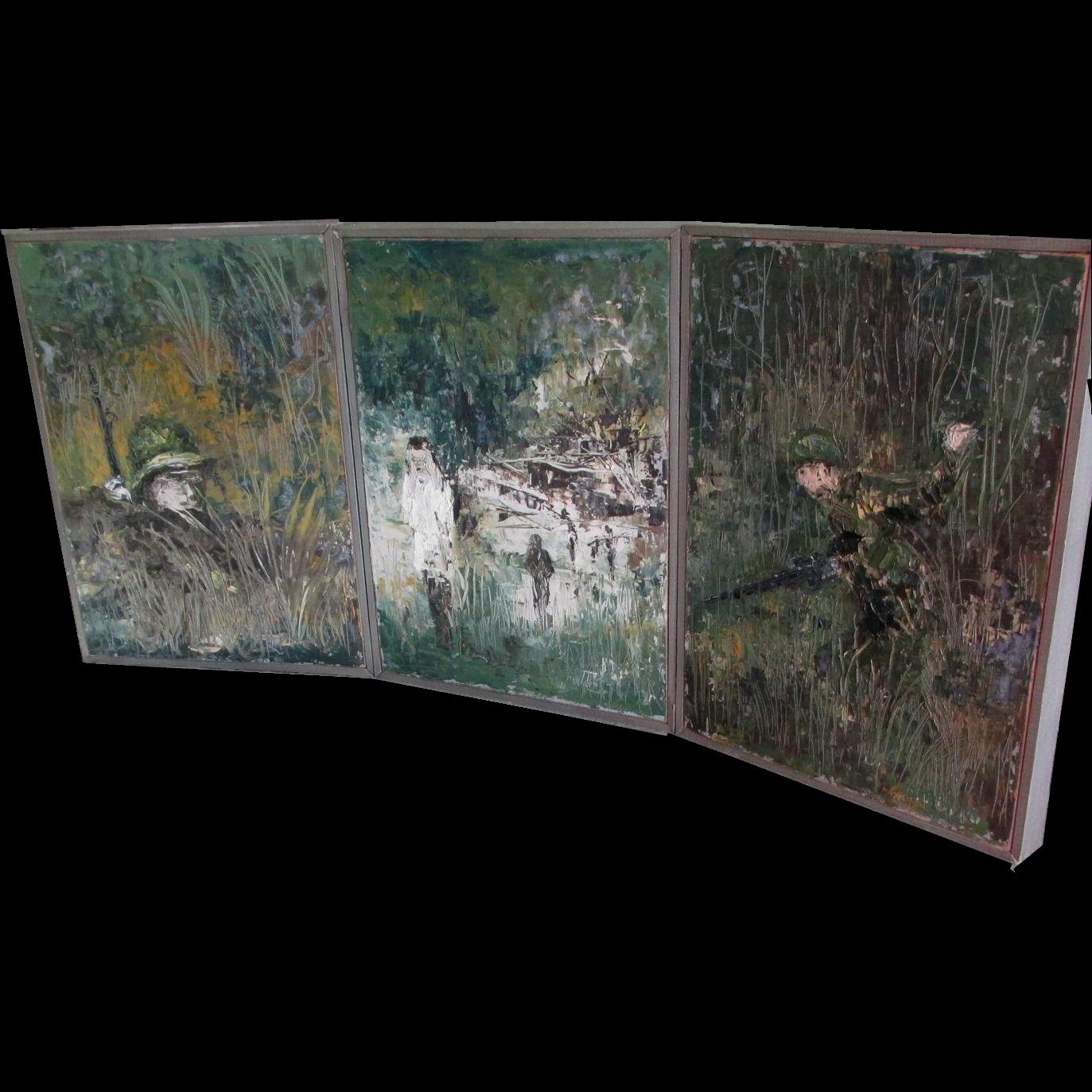 c1967 Impressionist Triptych Oil Painting, Vietnam War, Signed Vasilew