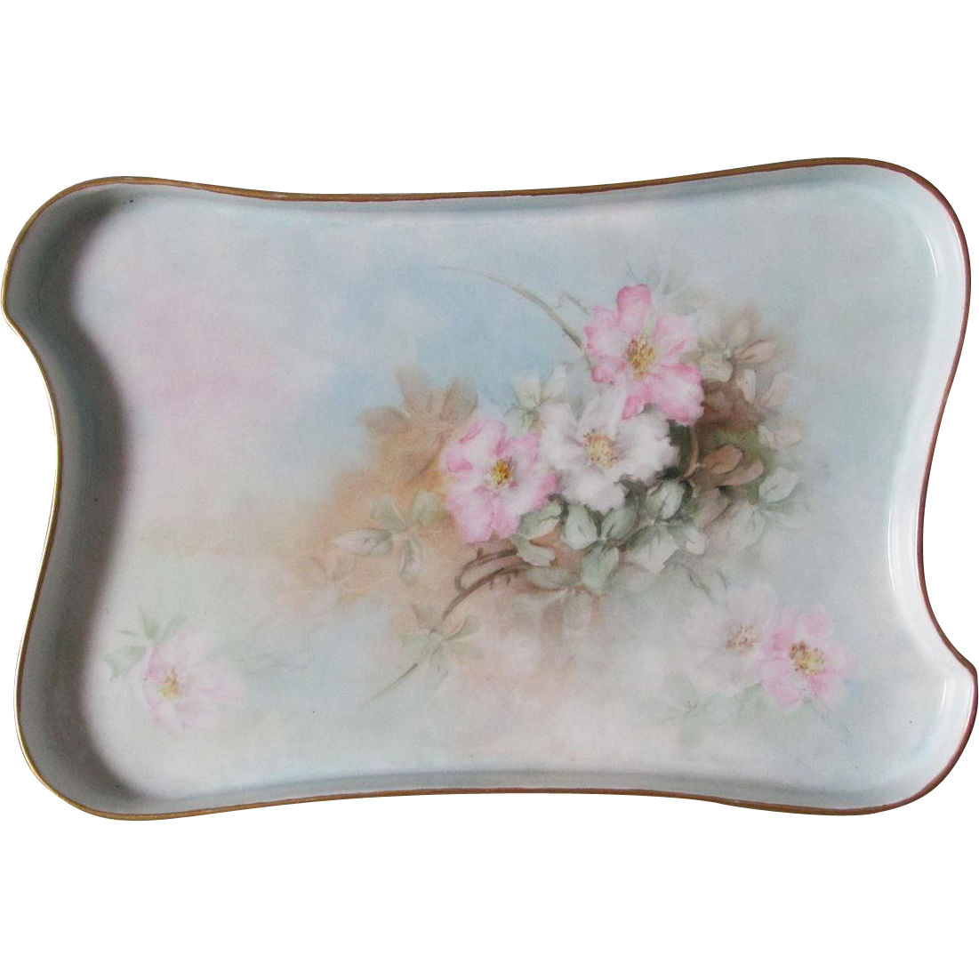 Antique French Limoges Hand Painted Perfume, Vanity Tray