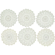 6 Fine c1900 Hand Crocheted European Lace Doilies
