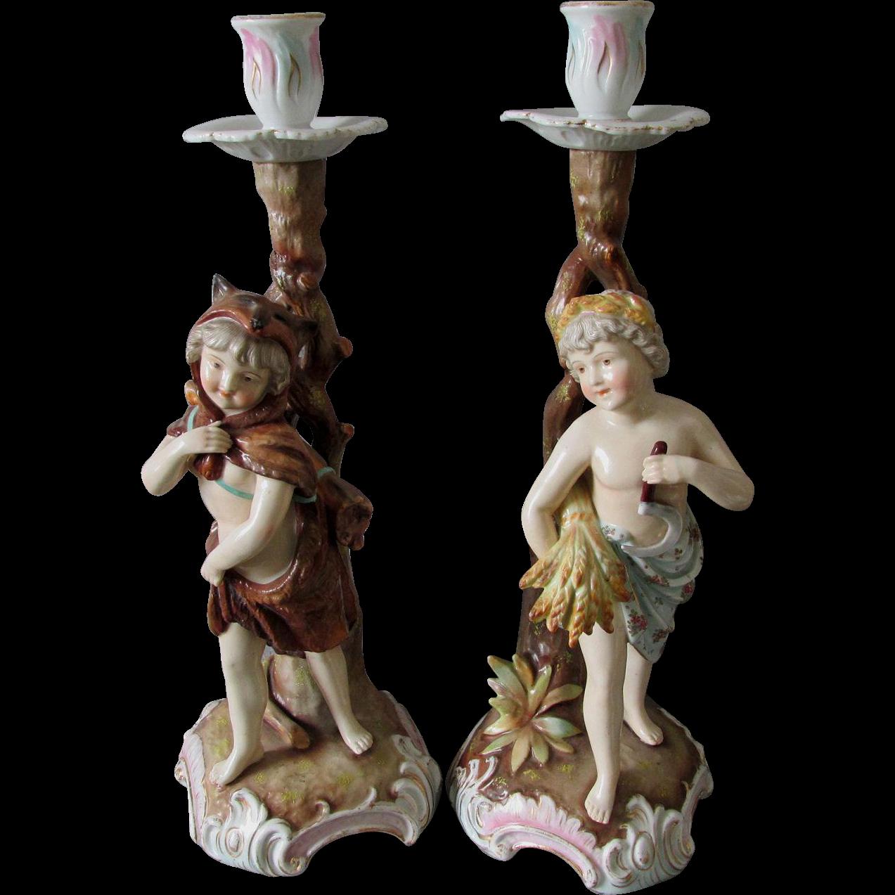 Pair Antique Royal Rudolstadt Cherub Children Candlesticks