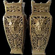 Antique French Bronze Mythological Mantle Vases, Potpourri