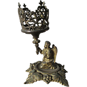 Antique Victorian Figural Angel Candlestick, Ecclesiastical