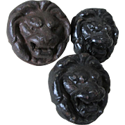 3 Antique Cast Iron Lion Head Architectural Elements, Garden