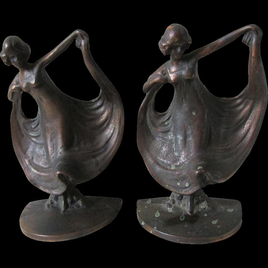 Antique Art Nouveau Lady Dancer Bookends