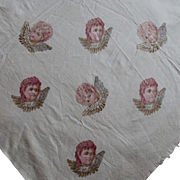 19thC Victorian Fabric, Tablecloth with Cherub Angels