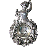 Antique Sterling Silver Bacchus Wine or Tea Strainer