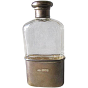 c1905 Edwardian London, England Sterling Silver, Cut Glass Flask