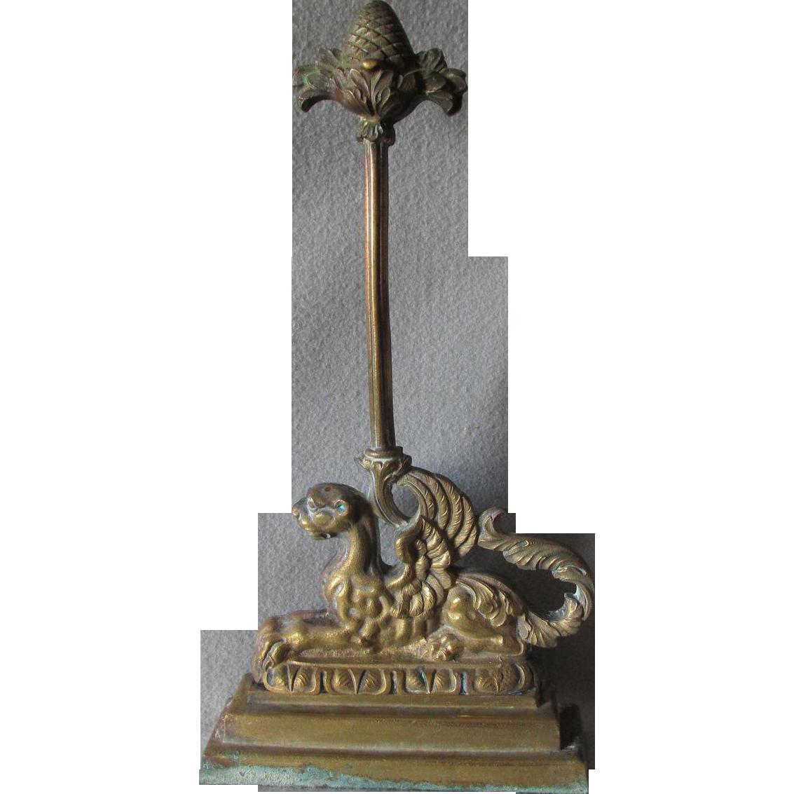 Antique Victorian Gothic, Gargoyle, Griffin Brass Doorstop