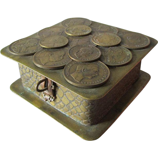 Antique German Bronze Jewelry, Desk or Vanity Box with Coins