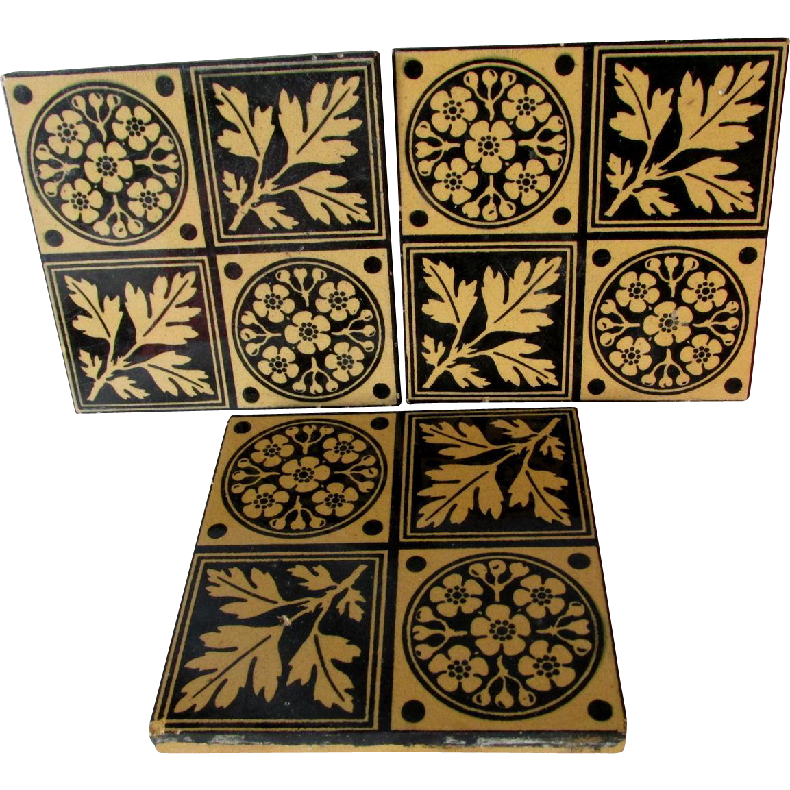 3 Minton Aesthetic, Arts & Crafts Art Pottery Architectural Tiles
