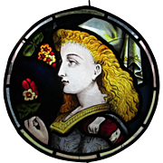 Antique Stained Glass Enamel Window with Princess AsIs