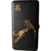 Antique Komai Japanese Mixed Metal Cigarette Case with Tiger