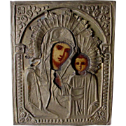 Antique Russian Icon, Madonna & Child