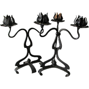 Pair Antique Art Nouveau Wrought Iron Candlesticks
