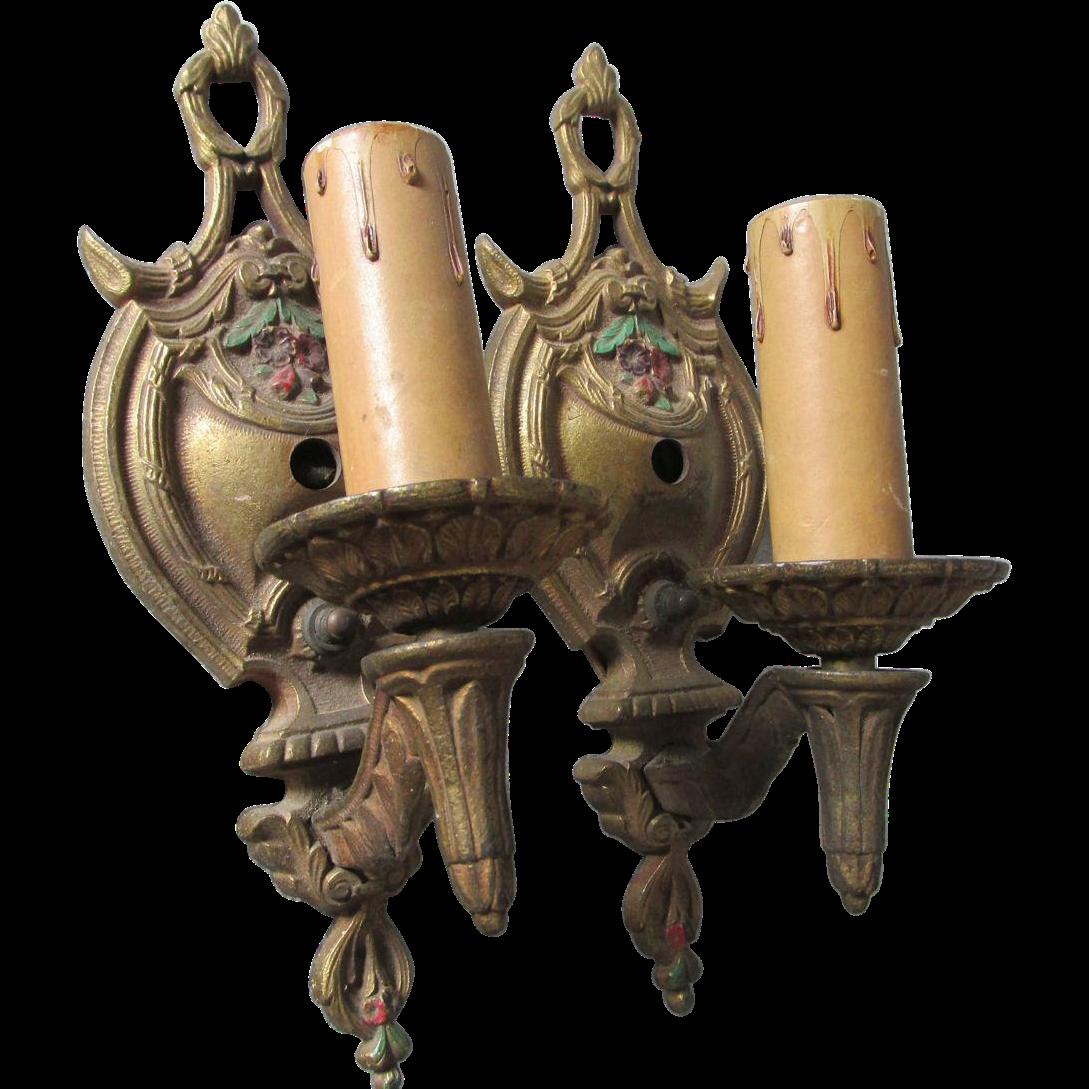 Pair Art Deco Floral Wall Sconces, Lamp, Lighting