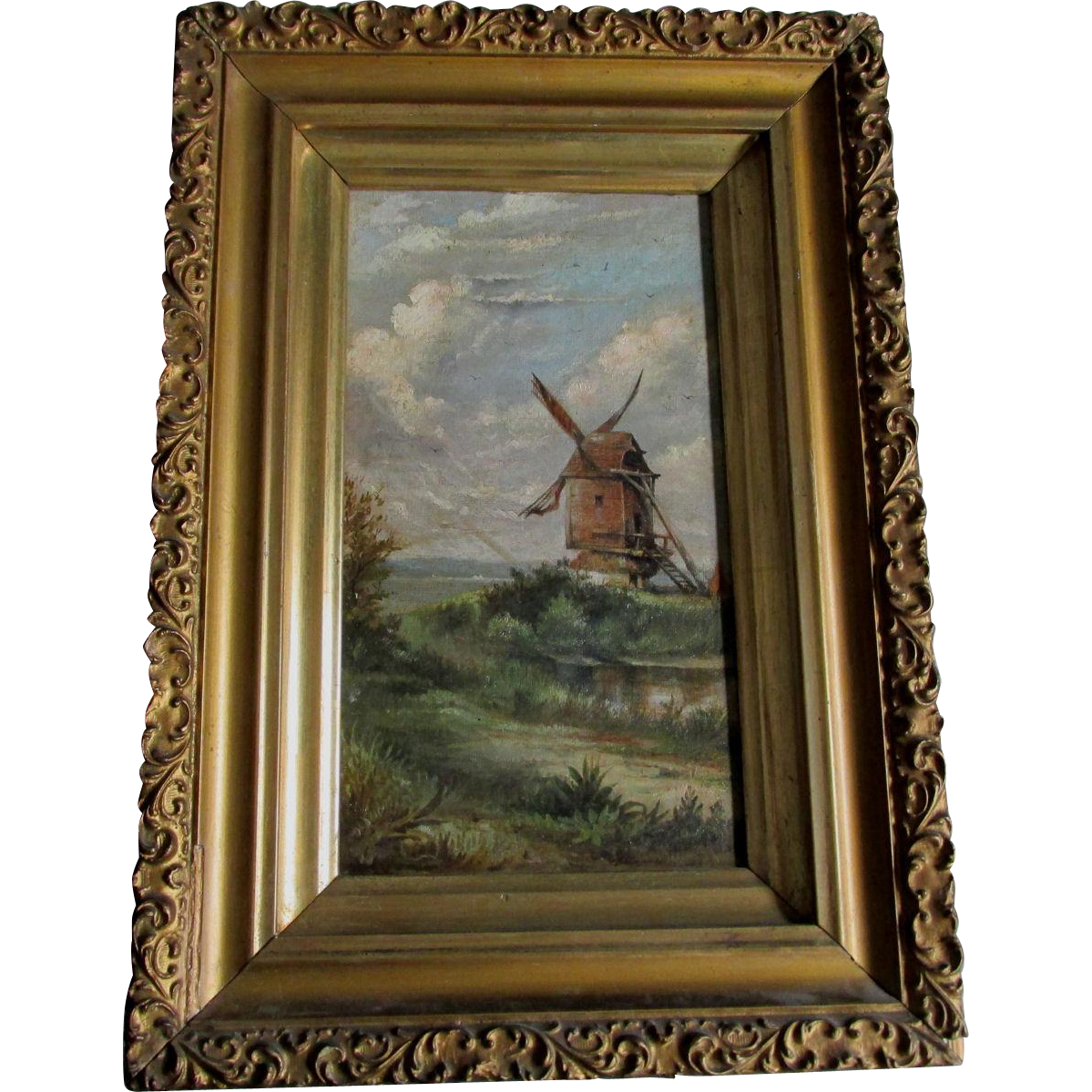 Antique 19thC Oil Painting of a Landscape with Windmill
