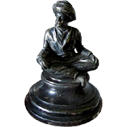 Antique Miniature Arabian Man Silverplate Paperweight