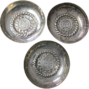 3 c1908  Peruvian Silver Coin Cups Peru, South American
