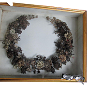 Big c1870s Victorian Hair Wreath in Shadowbox Frame