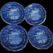 4 Circa 1820s Pearlware Flow Blue Transferware Plates Wistow Hall