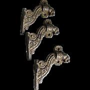 3 Antique Lion Head Architectural Shelf Brackets