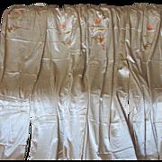4 Elegant c1920s Curtain, Drapery Panels Satin & Chenille  Embroidery