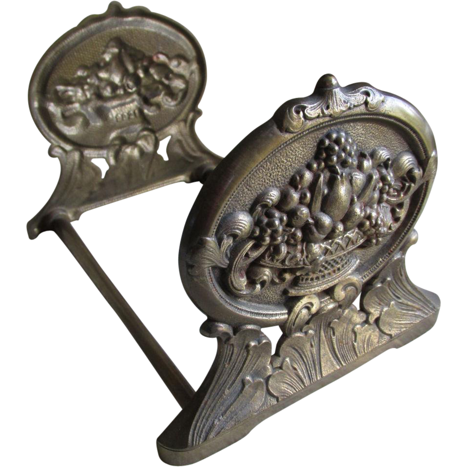 Elegant Antique Expanding Bookends with Fruit Basket