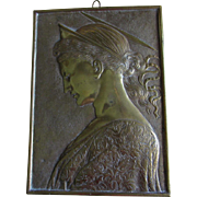 Lovely Antique Brass Plaque of Saint Cecilia