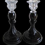 Pair Elegant c1920s Wood & Glass Candlesticks