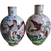 Pair Antique Enamel Bristol Glass Vases with Birds, Hand Painted